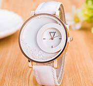 Mujer Reloj Deportivo Reloj de Vestir Reloj de Moda Reloj de Pulsera Simulado Diamante Reloj Cuarzo Esfera Grande Cuero Auténtico Banda