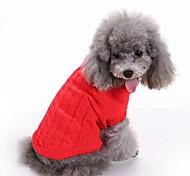 Коты Собаки Свитера Одежда для собак Зима Однотонный Милые Мода Рождество Новый год Красный Зеленый Синий Розовый Светло-синий