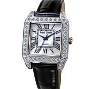 Women's Fashion Watch Simulated Diamond Watch Quartz Leather Band Black White Red White Black Red