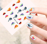 5pcs/set Beautiful Nail Art Water Transfer Decals Colorful Feather Nail DIY Beauty Design STZ-005