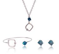 Juego de Joyas Moda Legierung Joyas Azul 1 Par de Pendientes Collares Para Diario 3 piezas Regalos de boda