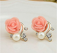 Stud Earrings Pearl Imitation Pearl Rhinestone Alloy Euramerican Flower White Red Jewelry Casual 1 pair