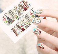 10pcs/set New Romantic Style Beautiful Tower Design Full Nail Art Sticker Colorful Tower Water Transfer Decals Nail Beauty Decoration STZ-193-197