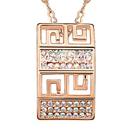Women's Pendant Necklaces Crystal Rectangle Chrome Unique Design Personalized Jewelry For Anniversary Congratulations Gift 1pc
