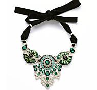 Women's Strands Necklaces Flower Chrome Unique Design Fashion Dark Green Jewelry For Wedding Congratulations 1pc