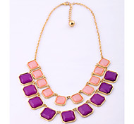 Women's Chain Necklaces Crystal Square Resin Plastic Unique Design Jewelry For Special Occasion Congratulations 1pc