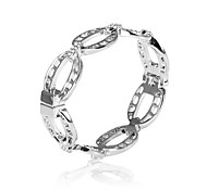 Fashion Polished Alloy Open Circle Shaped with Crystal Bangle Bracelet