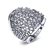 Women Wedding Band Platinum Plated Rings Fashion Synthetic Cubic Zirconia Paved Lead Free Finish Sizes 5 to 10