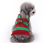 Cat Dog Sweater Dog Clothes Winter Reindeer Cute Fashion Christmas Green Red White Blue Pet Clothing for Pets Dogs