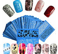 48pcs/set Hot Fashion Sweet Style Beautiful Lace Nail Water Transfer Decals Beautiful Flower Lace Nail Art DIY Beauty Beautiful Decals STZ-V01-48