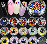 15bottle/set Fashion Nail Art Lovely Round Caviar Decoration Colorful Nail Art DIY Design Cute Nail Accessories Nail Beauty Decoration YZ01-15