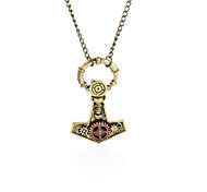 Thors Hammer Gear Steampunk Necklace Vintage Gothic Jewelry-Bronze