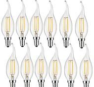 2W E14 Lampadine LED a incandescenza CA35 2 COB 200 lm Bianco caldo Decorativo AC 220-240 V 12 pezzi