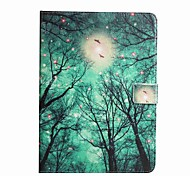 For Card Holder Wallet with Stand Flip Pattern Case Full Body Case Tree Hard PU Leather for Apple iPad 4/3/2