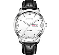 Men's Fashion Watch Chinese Quartz Leather Band Casual Black Brown
