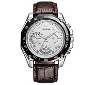 Men's Fashion Watch Quartz Leather Band Casual Black Brown White/Brown Black/White Brown black Black