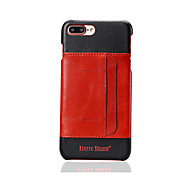 Fierre Shann Brand Card Holder Case Back Cover Case Solid Color Hard Genuine Leather for iPhone 7 Plus /iPhone 7