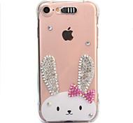 Para o iphone da maçã 7 7 mais 6s 6 mais a tampa do cobrir do coelho gota do diamante do teste padrão vem com a caixa do telefone do