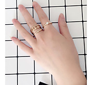 Ring Midi Rings Jewelry Euramerican Fashion Personalized Chrome Round Gold Rings For Daily Casual Outdoor Office & Career 1 SetWedding