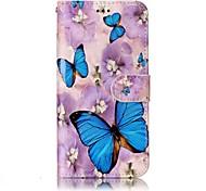 Для lg g6 покрытие корпуса фиолетовые цветы узор бабочки блеск рельеф pu материал карта стент кошелек телефон корпус
