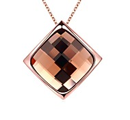 Women's Pendant Necklaces Chain Necklaces Opal Crystal Square Geometric Rose Gold Glass Rose Gold Plated Tin Alloy 18K gold AlloyBasic
