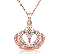 Women's Pendant Necklaces Chain Necklaces AAA Cubic Zirconia Crown Rose Gold Zircon Rose Gold Plated Tin AlloyBasic Unique Design
