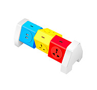 ABS Colorful Power Strip 6 Port With 2 USB Charging Port 180 Degree Free Rotation Over Range Protection