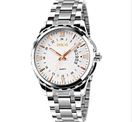 Men's Fashion Watch Quartz Alloy Band Silver Black/Silver Silvery/White White /Silver