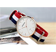 Men's Fashion Watch Quartz Fabric Band White Blue Red