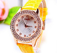 Women's Wrist watch Quartz Leather Band Black Gold Yellow