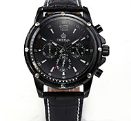 Men's Fashion Watch Quartz Leather Band Black Black
