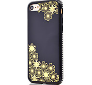 For Gold-Plated Flower Pattern Side Rhinestone Mirror Function Soft TPU Phone Case for iPhone 7 Plus 7 6S Plus 6S 6