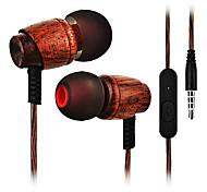 Cwxuan® fone de ouvido estéreo de madeira com microfone / botão inteligente para iphone 6 / iphone 6 mais / 5s samsung s4 / 5 htc e outros