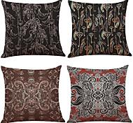 Set of 4 Bohemia  Style Pattern  Linen Pillowcase Sofa Home Decor Cushion Cover