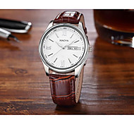 Men's Fashion Watch Quartz Leather Band Black Brown Black White