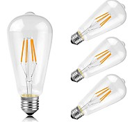 4w e26 / e27 светодиодные лампы накаливания st64 4 cob 400 lm теплый белый декоративный AC 220-240 v 4 шт.