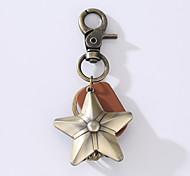 Новый брелок для ключей из сплава воловьей кожи с пятью звездочками