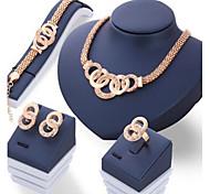 Schmuckset Basis Kreis Strass Einzelkette Gold 1 Halskette 1 Paar Ohrringe 1 Armreif 1 Ring Für Alltag Normal 1 Set Hochzeitsgeschenke