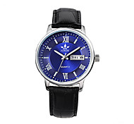 Men's Fashion Watch Quartz Leather Band Black Brown Black/Silver Black/White Black/Brown Dark Blue Black