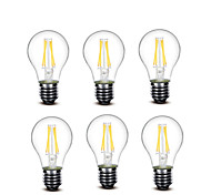 3.5 E27 Lampadine LED a incandescenza A60(A19) 4 COB 400 lm Bianco caldo Decorativo AC220 AC230 AC240 V 6 pezzi