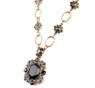 Women's Pendant Necklaces Oval Chrome Unique Design Personalized Black Jewelry For Gift Outdoor 1pc