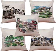 Set of 5 Hand-Painted Villa Pattern  Linen Pillowcase Sofa Home Decor Cushion Cover (18*18inch)