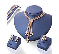 Schmuckset Basis Strass Einzelkette Gold 1 Halskette 1 Paar Ohrringe 1 Armreif 1 Ring Für Verlobung Alltag Normal 1 Set Hochzeitsgeschenke