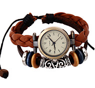 Men's Fashion Watch Quartz PU Band Brown