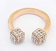 Euramerican The New Three-Dimensional Square Popular Rings Rhinestone Couple's Cuff Rings Jewelry Gifts