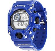 SKMEI Herren Sportuhr Digitaluhr Quartz digital Japanischer Quartz LED Kalender Chronograph Wasserdicht PU Band Blau Blau