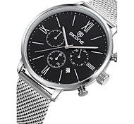 Men's Fashion Watch Quartz Stainless Steel Band Black White