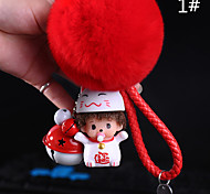 Bag / Phone /  Keychain charm for grils woman with bell Rex Rabbit Fur ball cartoon Charm PVC