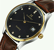 Men's Fashion Watch Quartz Automatic self-winding Calendar Water Resistant / Water Proof Leather Band Black Brown