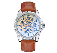 Men's Skeleton Watch Fashion Watch Mechanical Watch Automatic self-winding Water Resistant / Water Proof Leather Band Black Brown